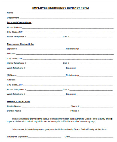 Sample Employee Emergency Contact Form - 7+ Examples In Word, Pdf