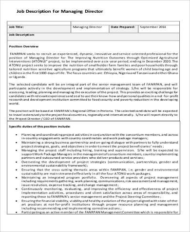 managing director duties job description