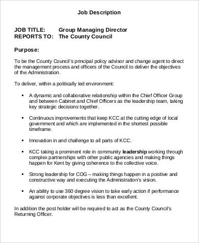 managing director job description pdf