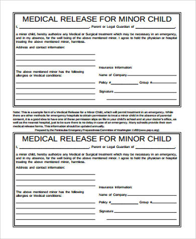 Medical Release Form For Child Sample   Examples In Word Pdf