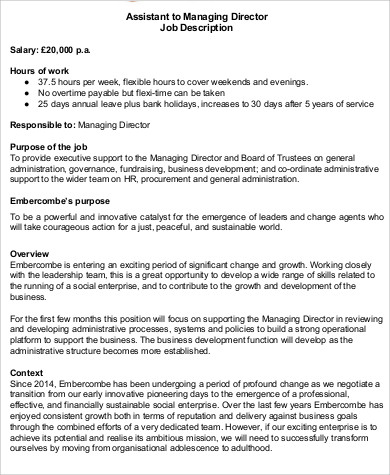 Managing Director Job Description Samples