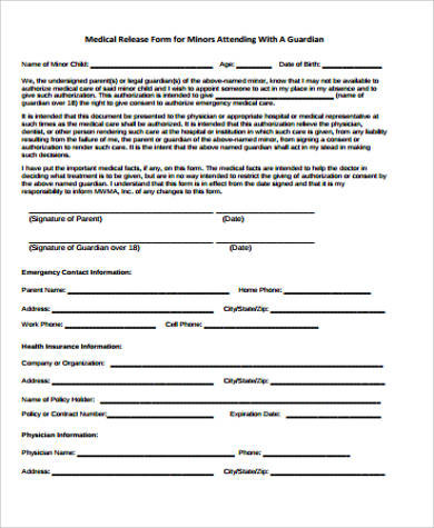 sample medical release form for child