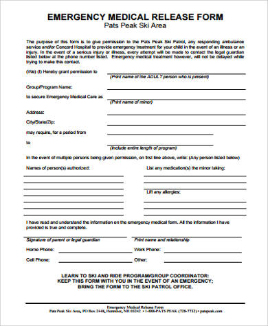 emergency medical release form for child