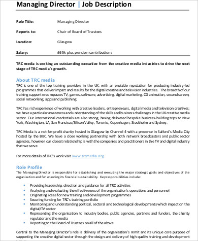 Managing Director Job Description Sample   Examples In Word Pdf