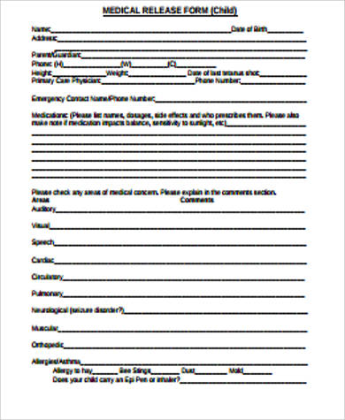 simple medical release form for child