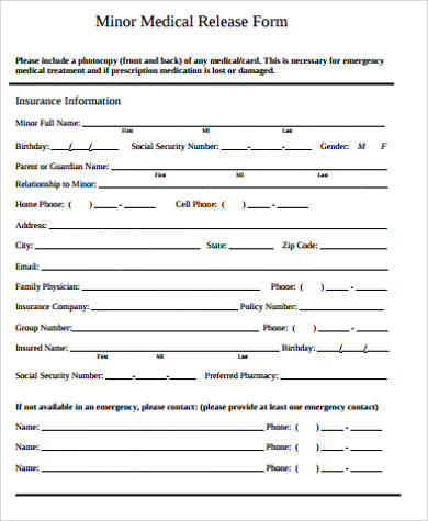 medical release form for minor child pdf