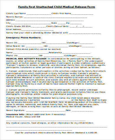 medical release form for a child