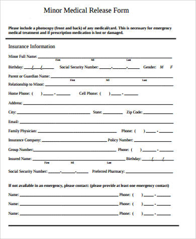 Simple Medical Release Form For Minor