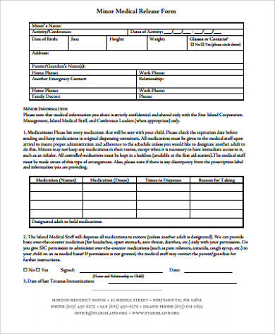 image about Printable Medical Consent Form for Minor known as Pattern Clinical Launch Type For Little - 7+ Illustrations inside of Term, PDF