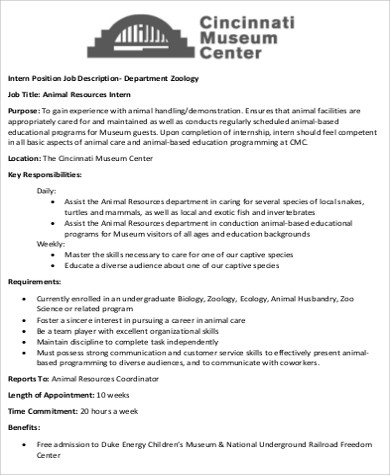 Zoologist Job Description Sample   Examples In Word Pdf