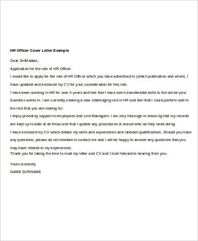Human Resources Officer Cover Letter Sample