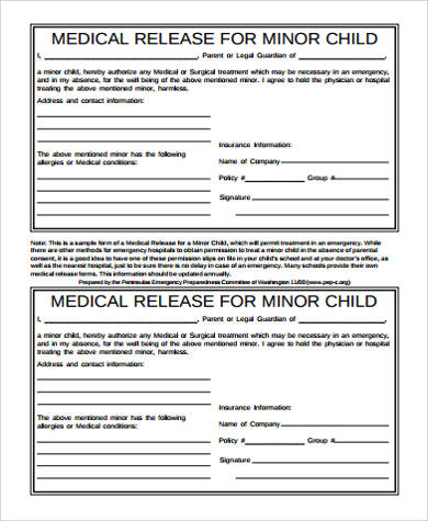 Sample Medical Release Form For Minor   Examples In Word Pdf