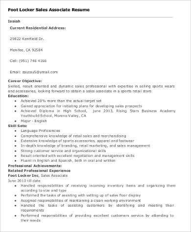 sales associate resume objective