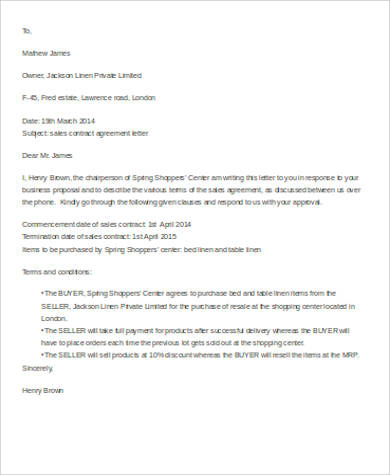 agreement contract letter