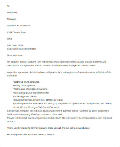 9 Sample Agreement Letter