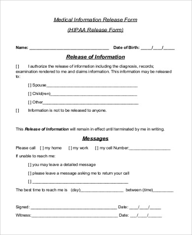 Hippa Release Form Sample   Examples In WordPdf