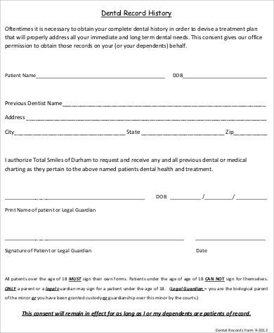 HIPAA Dental Records Release Form