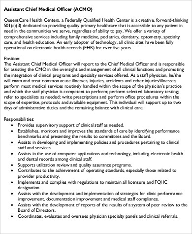 physician assistant job description template - 7 chief medical officer job description samples sample