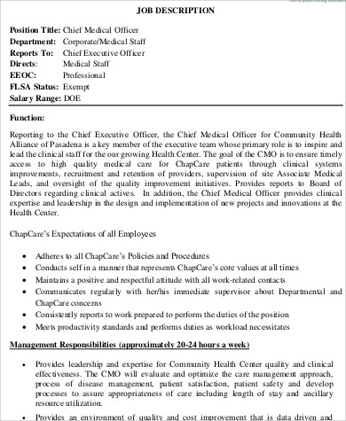 Chief Medical Officer Job Description Sample   Examples In Word Pdf
