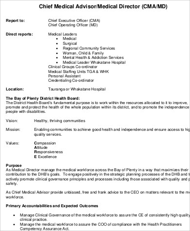 chief medical director job description1