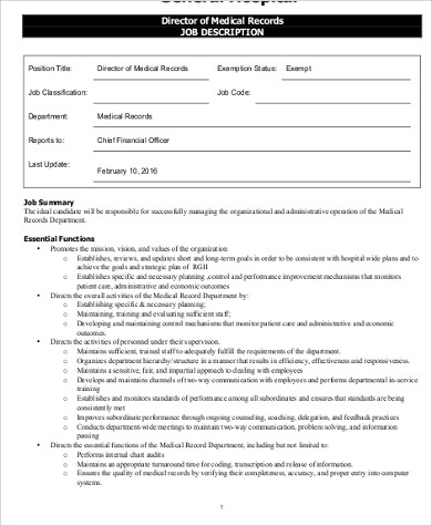 medical records director job description1