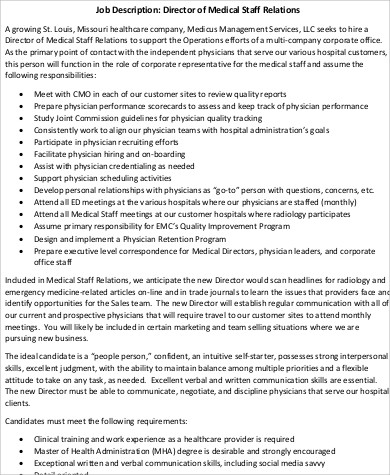 sample medical staff director job description