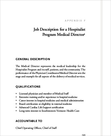 Medical Director Job Description Samples   Examples In Word Pdf