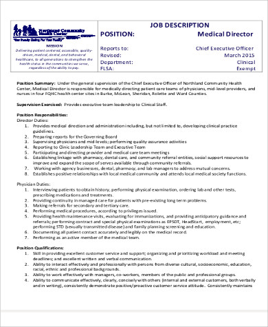 Medical Director Job Descriptions Sample Finance Director Job