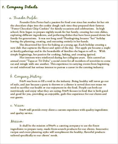 Sample Catering Business Plan   Examples In Word Pdf