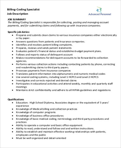 billing and medical coding job description pdf