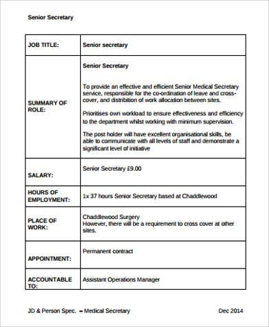 Sample Senior Medical Secretary Job Description