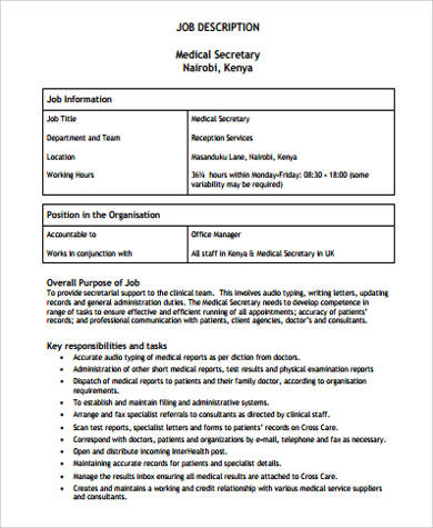Medical Secretary Job Description Sample   Examples In Word Pdf