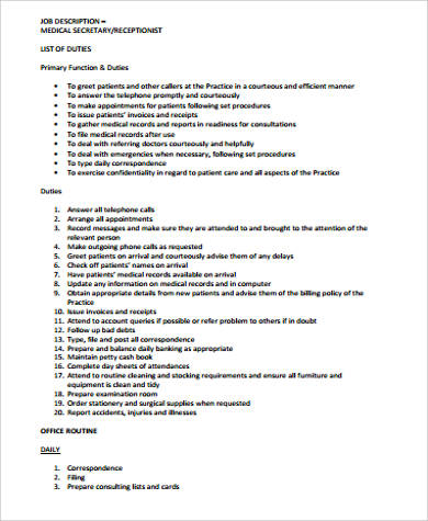 Medical Secretary Job Description Sample - 8+ Examples In Word, Pdf
