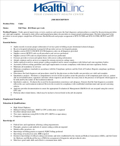 medical records coding job description sample