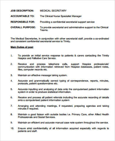 simple medical secretary job description