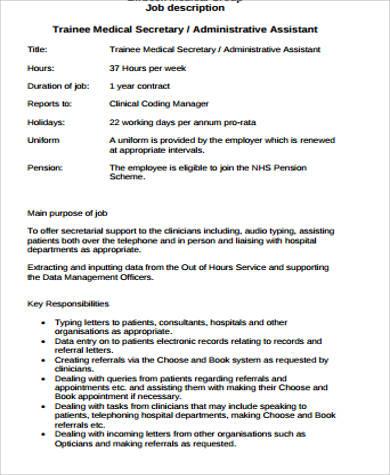 Medical Secretary Job Description Sample 8 Examples In