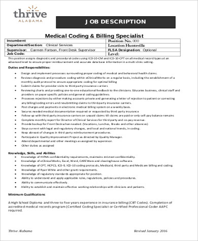 Medical Coding Job Description Sample   Examples In Word Pdf