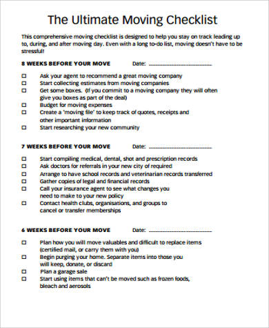 sample printable moving checklist
