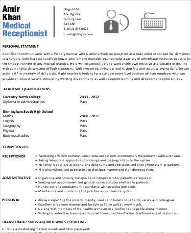 sample of medical receptionist resumes