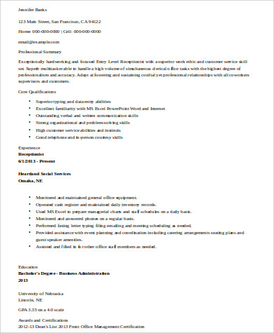 Receptionist Resume Sample 8 Examples In Word Pdf