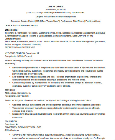 Receptionist Skills Resume Example  Receptionist Skills Resume