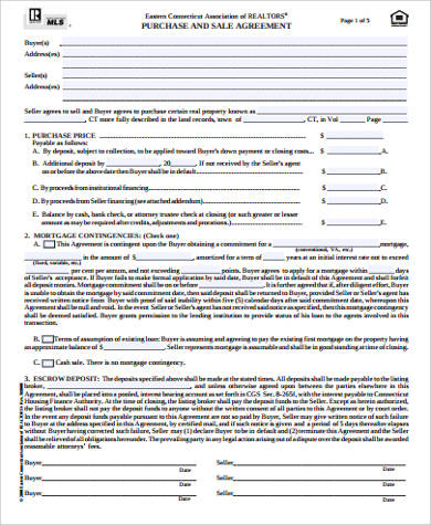 printable purchase and sales agreement sample