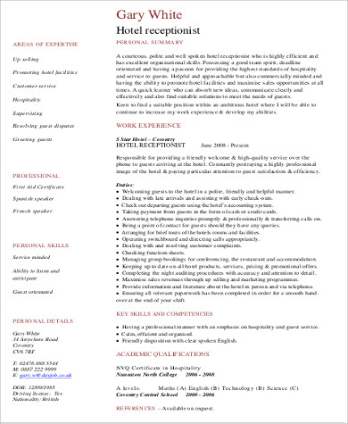 Receptionist Resume Sample   Examples In Word Pdf