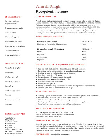student receptionist resume - Receptionist Resumes Samples