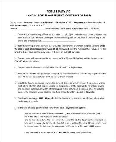 land contract purchase agreement sample