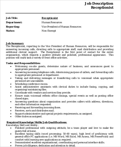 receptionist resume skills 8 receptionist resume samples sample templates 1443