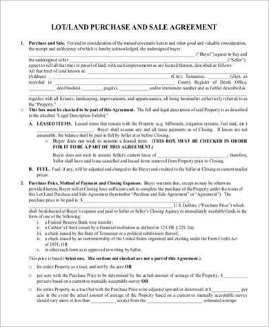 land purchase and sale agreement form sample