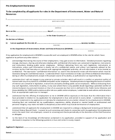 sample pre employee declaration form