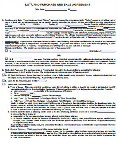 Land Purchase Agreement Sample  Free Samples Examples Format