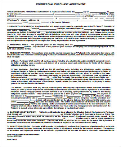 commercial land purchase agreement pdf